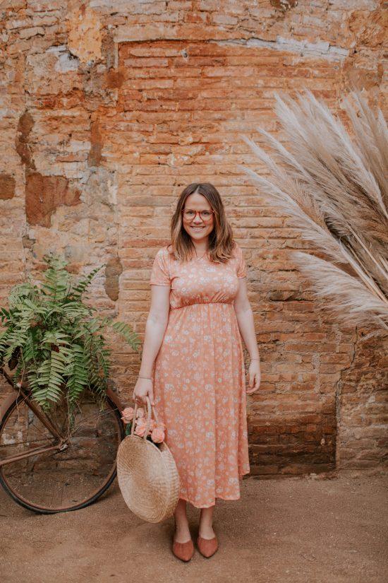 Vestido largo con estampado de flores para embarazada