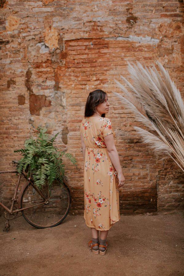 Vestido largo floral para embarazada