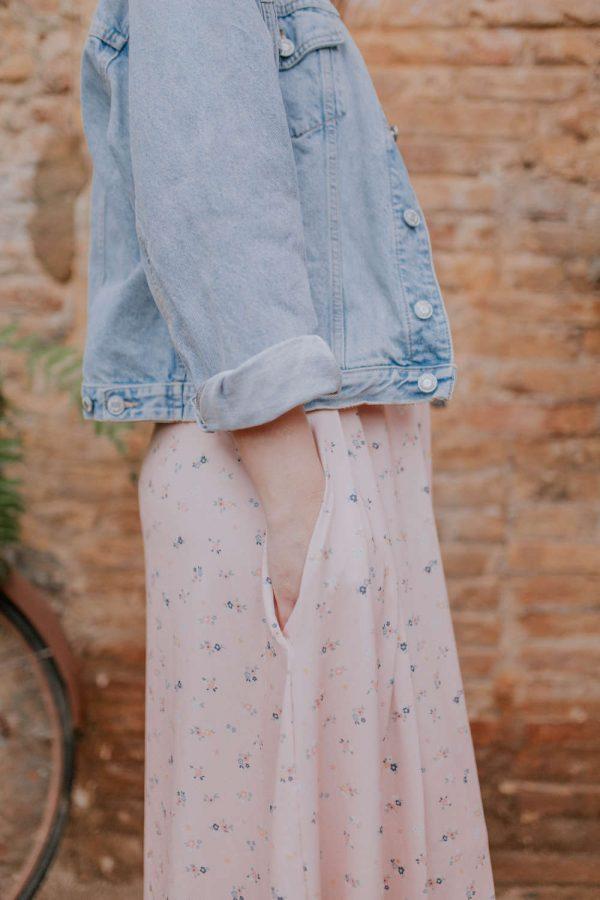 Vestido largo floral rosa para embarazadas