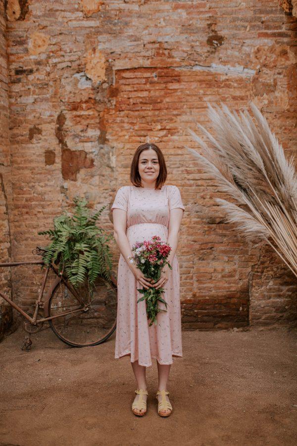 Vestido largo floral rosa apto para lactancia